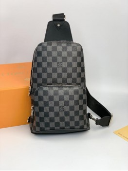 Слинг Louis Vuitton серый кожаный
