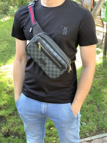 Поясная сумка Gucci Supreme серая