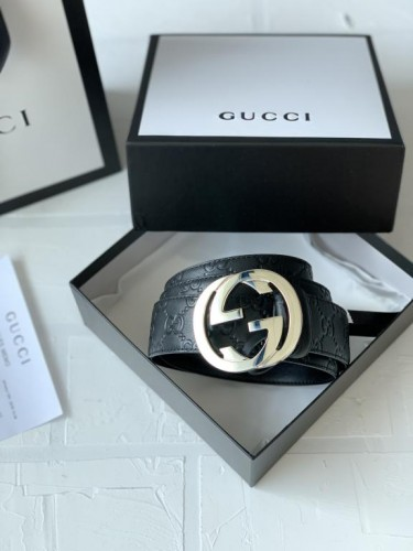 """Ремень Gucci черный тиснение в стиле """"GG"""""""