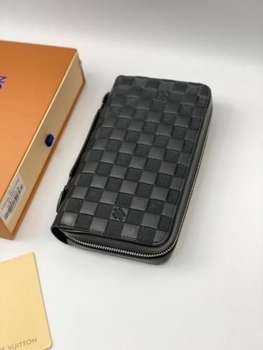 Кошелек Louis Vuitton на два отделения черная шашка с ручкой