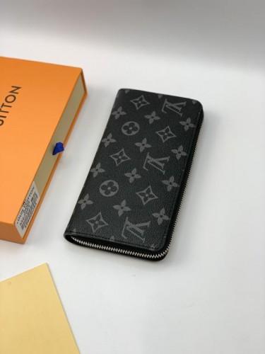 Бумажник Louis Vuitton на змейке серый монограмм