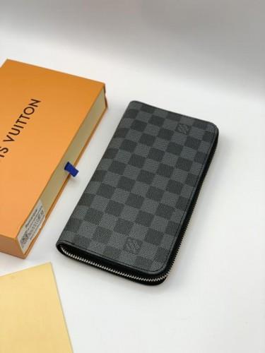 Бумажник Louis Vuitton серый на молнии