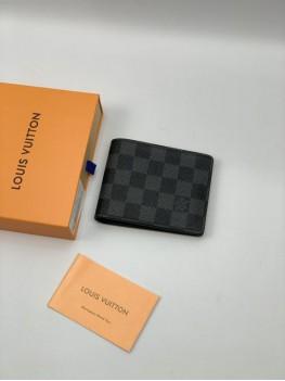 Бумажник Louis Vuitton серая шашка кожаный