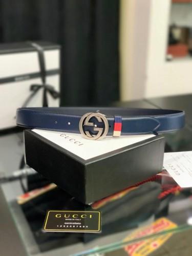 Ремень Gucci синего цвета серебристая пряжка