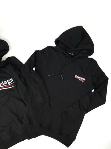 Худи Balenciaga черное с капюшоном и логотипом