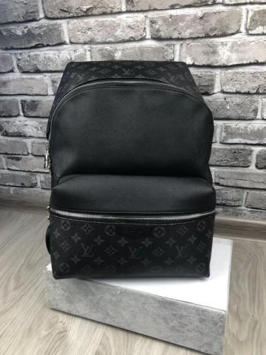 Рюкзак Louis Vuitton серый монограмм кожаные вставки