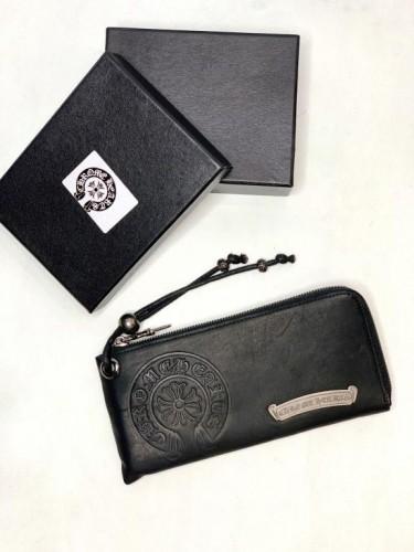 Бумажник Chrome Hearts черный с логотипом в виде подковы