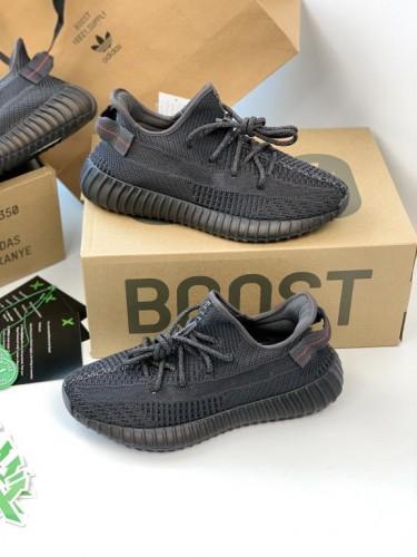Кроссовки Adidas Yeezy Boost 350 Black RF черные рефлективные шнурки