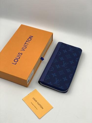 Бумажник Louis Vuitton на молнии расцветка синий монограмм